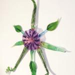Wall art, glass, rondel, flower